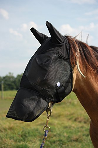 Horse Fly Mask with Long Nose and Ears, All Around Barn, Stable, Pasture, Trail Riding Fly and Sun Protection Standard Fly Mask - Style: With Long Nose and Ears - Size: Horse