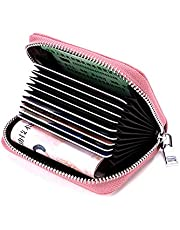 Credit Card Holder Wallet, RFID Blocking Leather Zipper Card Holder case Accordion Wallet for Women/men