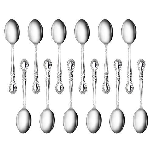 New Star Foodservice 58727 Stainless Steel Rose Pattern Teaspoon, 6.2-Inch, Set of 12...