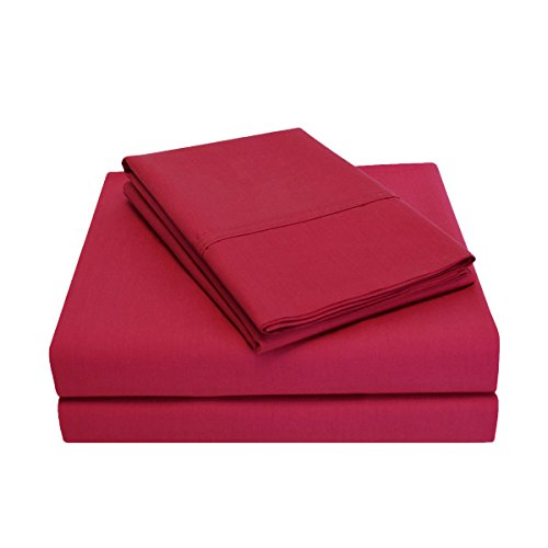Percale 300 Thread Count 100% Cotton, Deep Pocket, 4-Piece King Bed Sheet Set, Solid, Burgundy