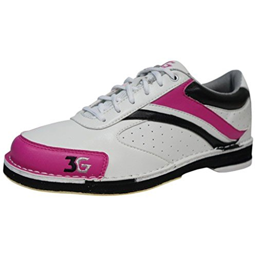 3G Womens Classic Pro Bowling Shoes- Left Hand (6 1/2 M US, White/Pink/Black)