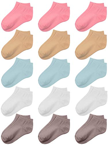 Coobey 15 Pack Kids' Half Cushion Low Cut Athletic Ankle Socks Boys Girls Ankle Socks (White, Beige, Light Coffee, Coral, Light Blue, 4-6 Years)