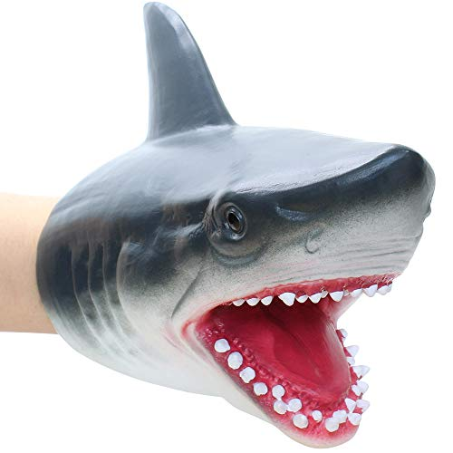 Lebze Shark Hand Puppet for Toddlers, Soft Rubber Realistic Shark Toys for Kids