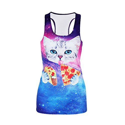 Leapparel Women's Cute Explosion Cat Printed Sleeveless T Shirt Tank Tops Vest - Time Package Usps Delivery
