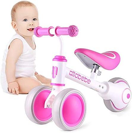 TTW Baby Balance Bike Juguetes para niños pequeños 12-36 Meses Regalos para 1 año para Entrenar al bebé de pie a Correr con Asiento Ajustable Silencioso 3 Ruedas,Rosado
