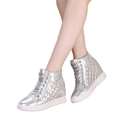 Btrada Womens Tacco Sneaker Alto Top Cz Scarpe Da Corsa Atletiche Stringate Argento