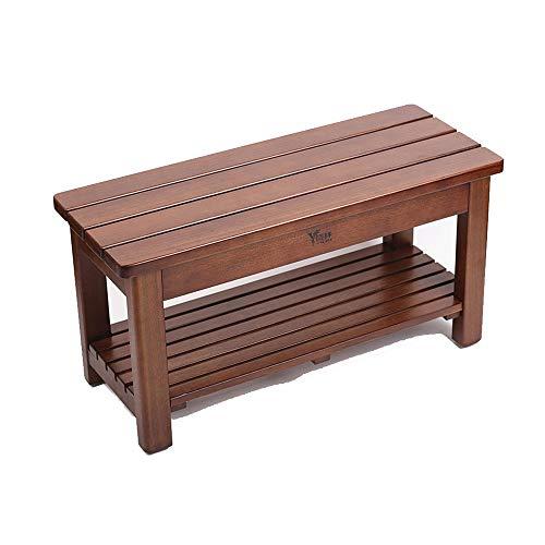 Taburete de bano y ducha Madera ducha Asiento de Banco de madera y banera de hidromasaje Organizador taburete con Estante de almacenamiento for el asiento silla de interior al aire libre Seguridad ant