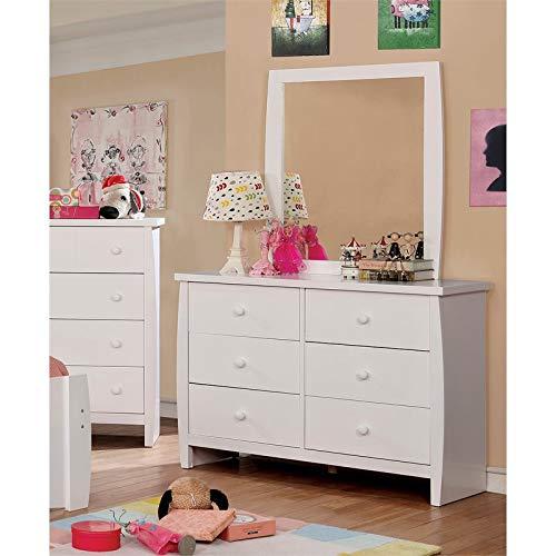 Furniture of America Devon 6 Drawer Dresser and Mirror Set in White (Mirror Dresser Portrait)