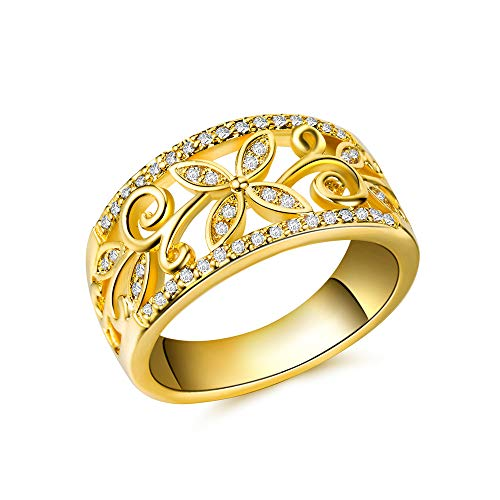 Huitan Hollow Blossom Leaf Design Cubic-Zirconia Ring Cocktail Party Band Rings for Women Size 6-10 (Gold, 8)