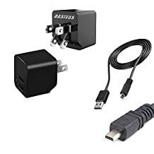 2in1 dual mini wall outlet charger with double USB power ports & sized pocket for travel 2.4 Amp 12W with USB charge cable designed for the Nikon Coolpix S9500