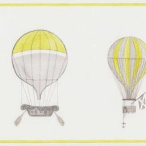 19007124 - Jules et Julie Green Air Ballons Casadeco Wallpaper Border by Casadeco