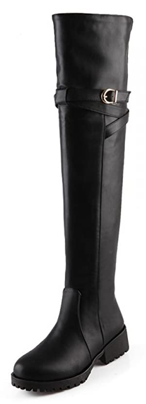 Sfnld Women's Trendy Round Toe Buckle Over the Knee Low Chunky Heel Riding Boots Black