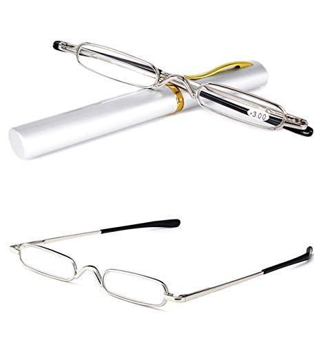 VEVESMUNDO Reading Glasses Men Women Compact Metal Eyeglasses Eyewear With Case