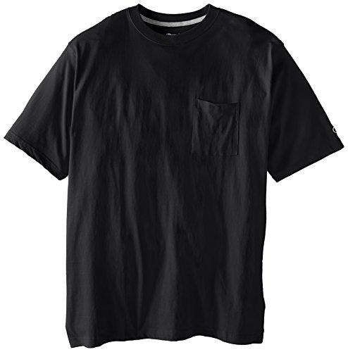 Champion Men's Big-Tall Jersey Pocket T-Shirt, Black, 2X/Tall