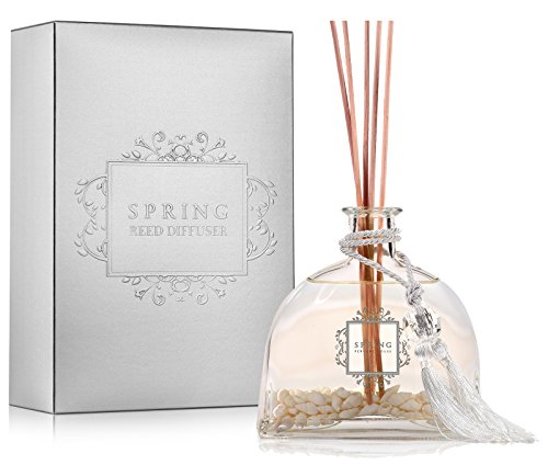 Spring Scented Fragrance Oil Reed Diffuser & Room Air Freshener Home | 11.5 oz (Sea Shell, Flower of The Alps)