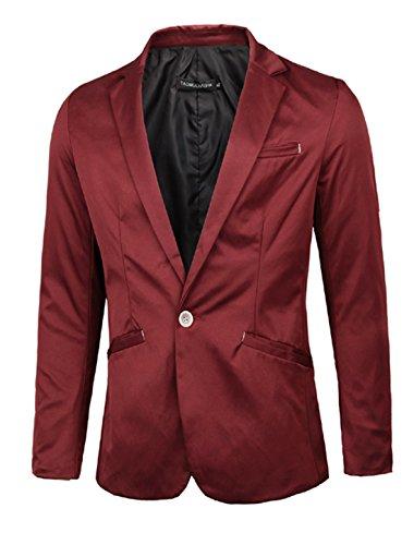 Men Notched Lapel Long Sleeve Button Up Blazer Jacket Burgundy M
