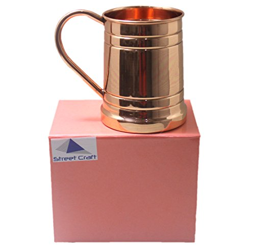 STREET CRAFT Solid Copper Beer Stein Mug , Tankard Large Moscow Mule Copper Mugs, 20 oz – Set of 1 Gift Pack – Handmade of 100% Pure Copper, C Handle