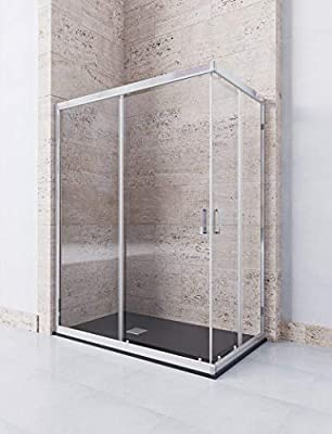 Modelo DION - Mampara de ducha angular de 2 hojas fijas y 2 puertas correderas - Cristal 6 mm con ANTICAL INCLUIDO: Amazon.es: Bricolaje y herramientas