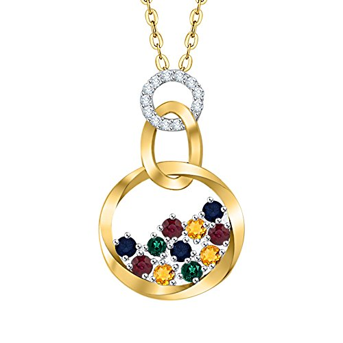Circle Multi Pendant Diamond - KATARINA Diamond and Multicolor Gemstone Fashion Pendant Necklace in 10K Yellow Gold (7/8 cttw, G-H, I2-I3)