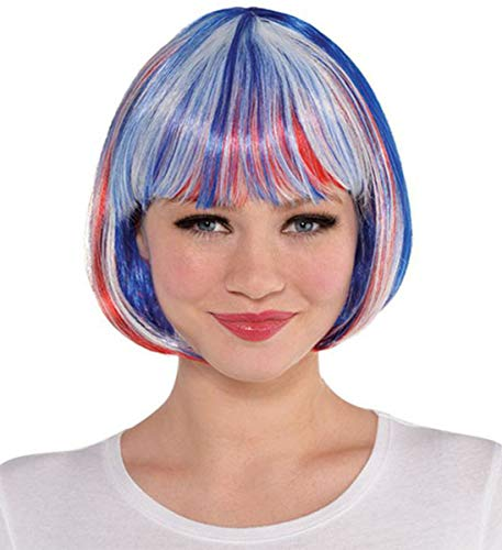 AMSCAN Bob Style Wig, Red/White/Blue -
