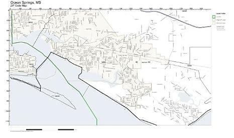 Ocean Springs Ms Zip Code Map.Amazon Com Zip Code Wall Map Of Ocean Springs Ms Zip Code Map