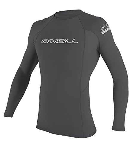 - O'Neill Men's Basic Skins UPF 50+ Long Sleeve Rash Guard, Smoke, Medium