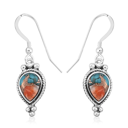 925 Sterling Silver Pear Southwest Jewelry Spiny Turquoise Earrings for Women Gift