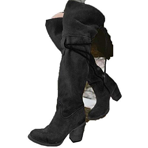MZjJPN Over The Knee Boots Women Winter Warm High Square Hee