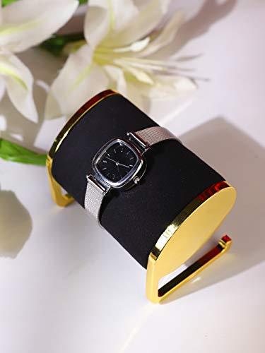 Soporte exhibidor de reloj metal dorado y terciopelo negro