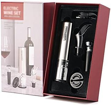 YZQ Caja De Regalo Abre De Vino Eléctrico Recargable Abrelaje Automático De La Botella Conjunto con La Máquina De Corte De Aluminio, Tapón De Vacío, Vino por Vino,A