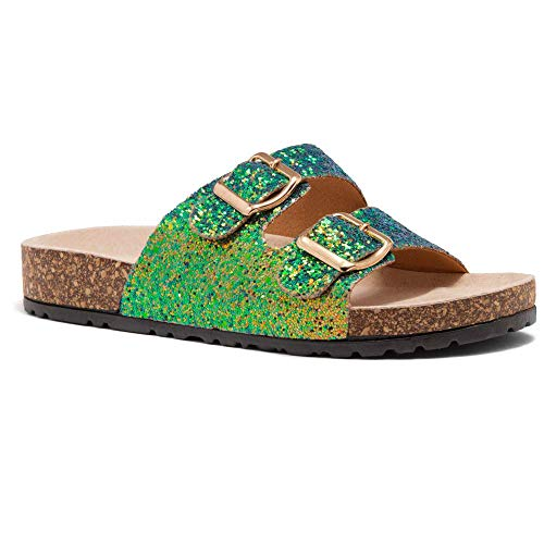 Herstyle Softey Women's Comfort Buckled Slip on Sandal Casual Cork Platform Sandal Flat Open Toe Slide Shoe GreenGlitter 8.0 (Sandals Slide Flat Buckle)