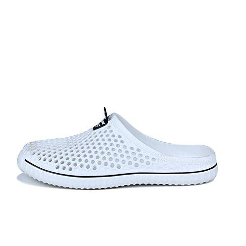 Scurtain Womens Leisure Walking PVE Slipper Ultra-light Closed-toe Slipe on Sandal White WP4DwuVph