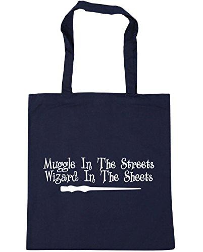 HippoWarehouse MUGGLE en la calle mago en la hojas Tote Compras Bolsa de playa 42cm x38cm, 10litros azul marino