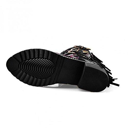 Genou Kingrover Chaussures Bloc Mode D'hiver Mi Dames Bottes Brodées Automne Noir Talon De Des Femmes De Zip qqw7p1vx