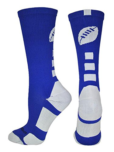Accessories Football American (MadSportsStuff Football Logo Crew Socks (Royal/White, Small))
