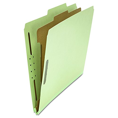 Universal 10253 Pressboard Classification Folder, Letter, Four-Section, Gray-Green (Box of 10) ()