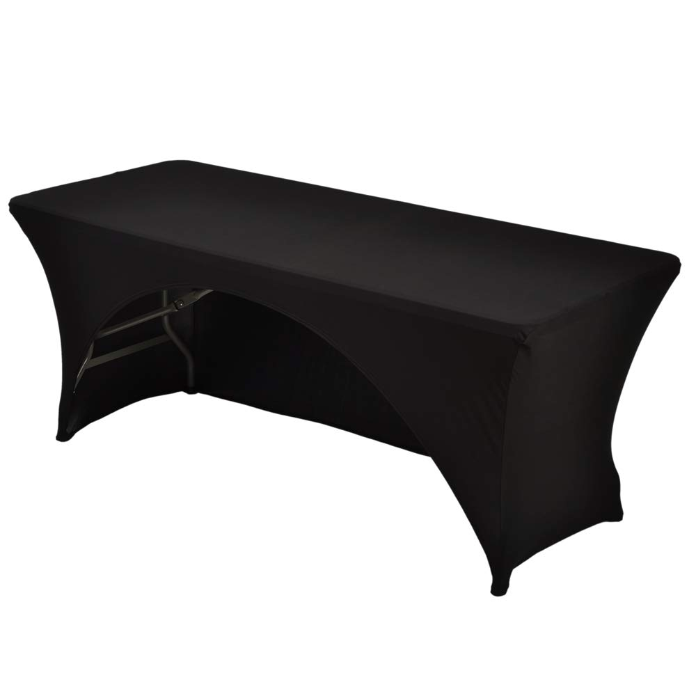 Haorui 6 ft. Black Rectangular Spandex Table Cover Open Back Fitted Stretch Tight Table Cloth Tradeshows Vendors