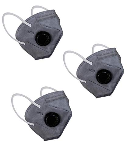 Longwalk N95 Anti Pollution Anti Virus 5 Layer Face Mask protection from Dust and pollution With Adjustable Nose-pin & Respirator Filter (CE-FDA-Gem & ISO Approved) Multi Colors Mask Combo (Grey) Price & Reviews