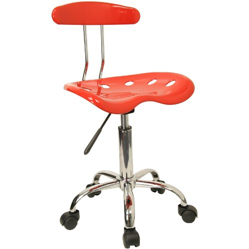 Flash Furniture Vibrant Red and Chrome Swivel Task Chair with Tractor Seat