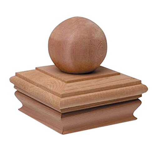 Woodway Flat Top Post Cap With Ball Accent 4x4  - Treated Wood Finial Post Cap, Newel Post Top 4 x 4, Fits Up To 3.5 x 3.5 Inch Post, 1PC ()