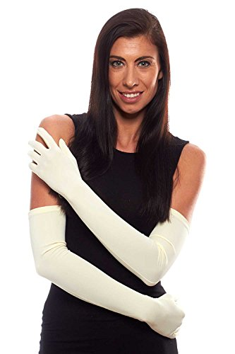 Classic Comfort Stretch Long Opera Gloves with Buttons, Ivory
