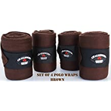 Challenger Horse Tack Grooming Leg Polo Wrap Set of 4 Soft Fleece Brown Equine Rodeo 95R11
