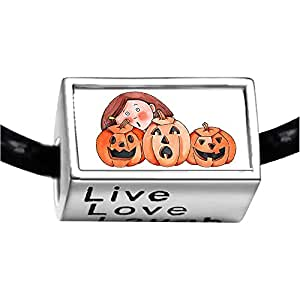 Chicforest Silver Plated girl with Jack O lantern pumpkin Photo Live Love Laugh Charm Beads Fits Pandora Bracelets