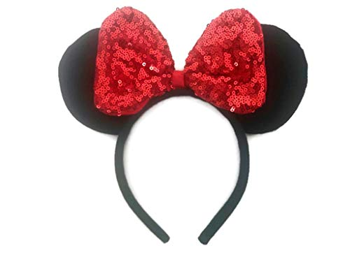 Disneyland Mickey Mouse Halloween Party Tickets (Sequin Hair Bows Headbands Mouse Ears for Baby Girls Women Costume Party: M8)