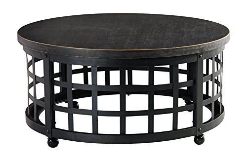 Ashley Furniture Signature Design - Marimon Coffee Table - Cocktail Table - Round - Black