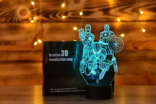Amazon Com Serkyhome 3d Illusion Night Lights For Kids With Remote Control 7 Colors Led Table Lamp Marvel Heroes Home Kitchen