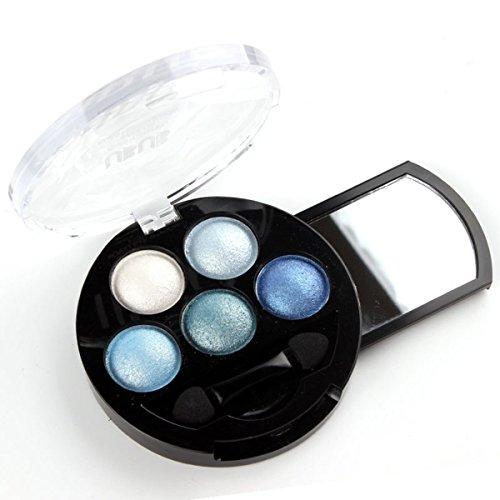 (HugeStore 5 Colors Glitter Eyeshadow Eye Shadow Powder Palette Shimmer Metallic Blue)