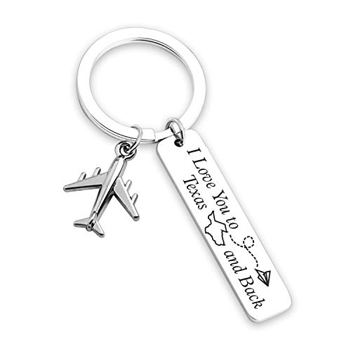 Couples keychain girlfriend boyfriend gifts long distance relationship gift for boyfriend girlfriend birthday valentines gift personalized couples jewelry going away gift (KN-ILoveYoutoTexas701)