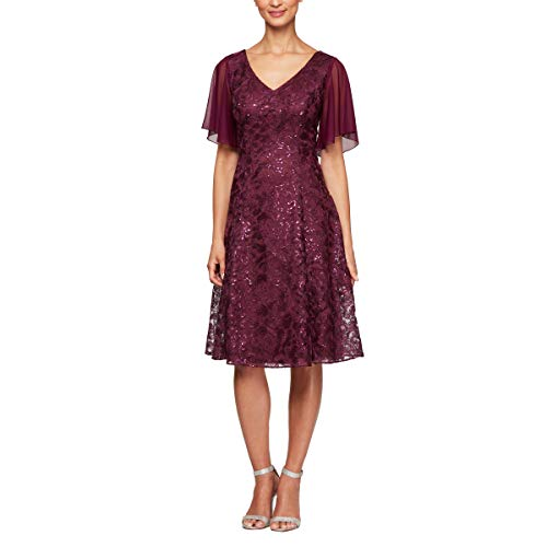 Alex Evenings Women's Tea Length Dress with Rosette Skirt (Petite and Regular Sizes), Bright Plum, 6
