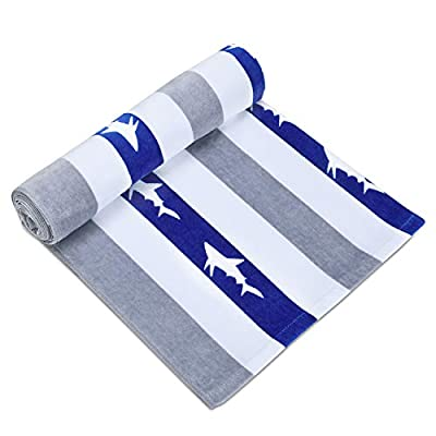 Quick Dry Fun USA Cotton Oversized Beach Towel - Print Sandproof Striped 35 x 70inch Pool Towel, Big Blue Extra Large Swim Towel, Summer Kids Cabana Towel